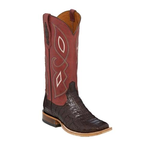 Tony Lama Womens Coral Top Chocolate Caiman Belly Boots
