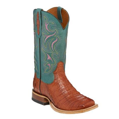 Tony Lama Teal Brandy Caiman Belly Tail Women's Boots