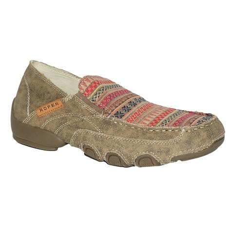 Roper Womens Daisy Canvas Slip On Red Tribal Serape Shoes