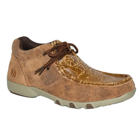 Roper Womens Tan Leather Embossed Driving Mocs