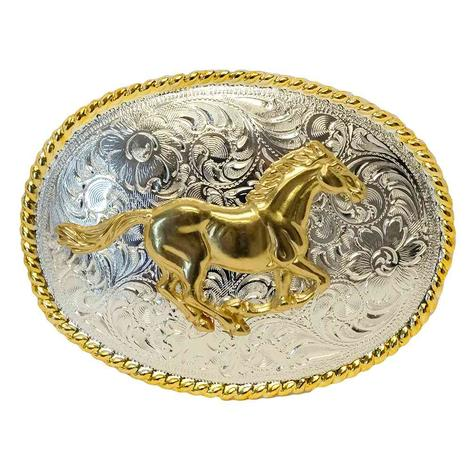 Nocona Gold and Silver Running Horse Oval Belt Buckle