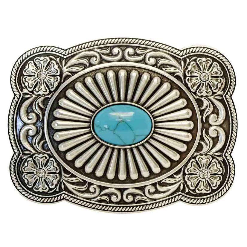 Nocona Silver And Turquoise Belt Buckle