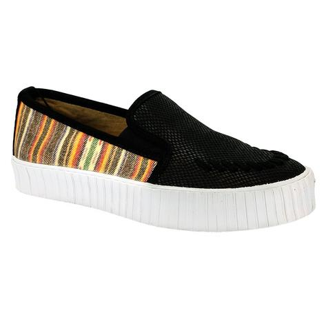 Reba By Justin Womens Helen Black and Serape Slipon Shoes