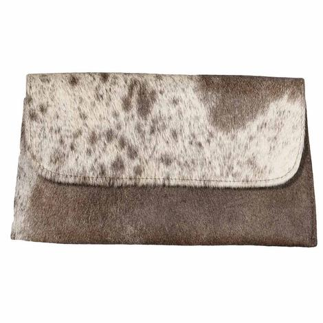 Brown and White Cowhide Clutch by Jackson and Hyde