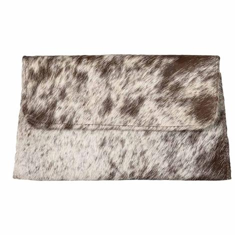 Brown and White Speckled Cowhide Clutch by Jackson and Hyde