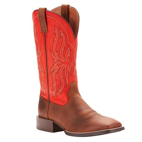 Ariat Mens Sport Rustler Distressed Brown Rogue Red Boot