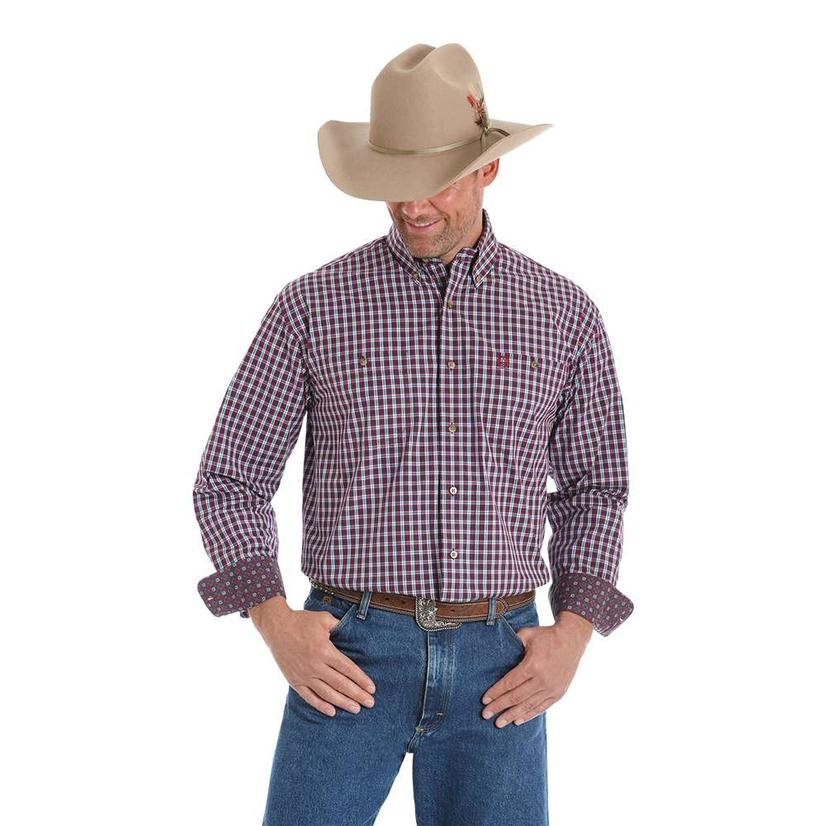 53402f168d4a6 Wrangler Mens George Strait Long Sleeve Maroon Plaid Shirt