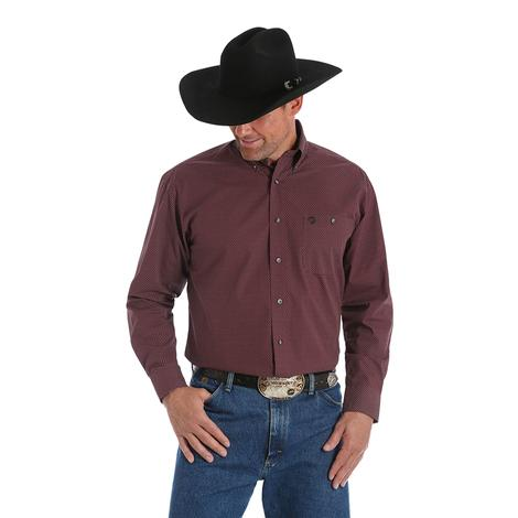 Wrangler Mens Strait Maroon Grey Plaid Long Sleeve Button Down Shirt