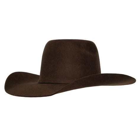 Ariat Boys Youth Chocolate Colored Wool Felt Cowboy Hat