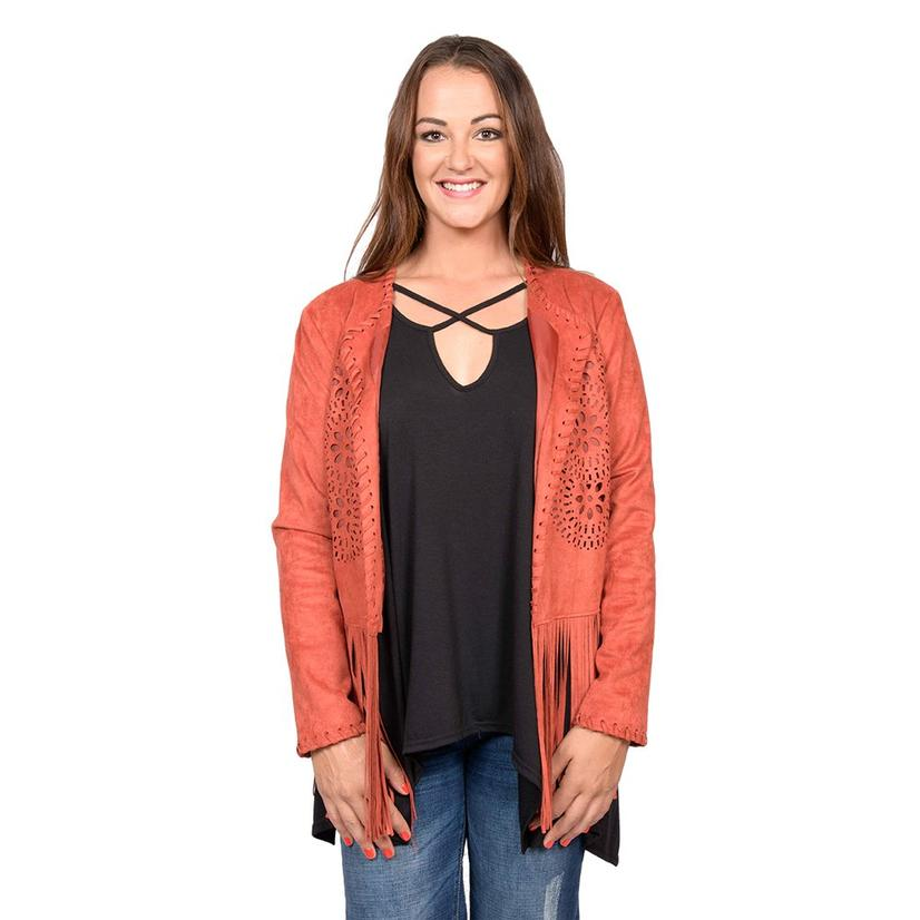 Ariat Womens Fireside Faux Suede Fringed Jacket