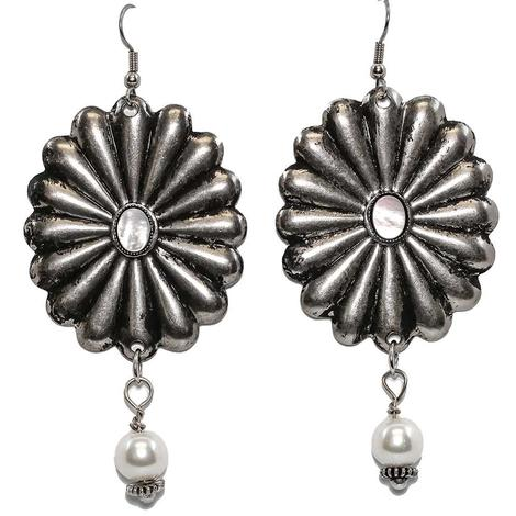 Fluted Concho Floral Earrings with Pearl Center