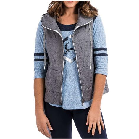 Cinch Women's Grey Zip Up Hoodie Vest
