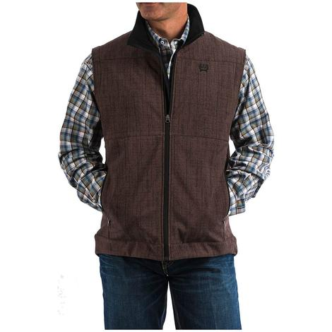 Cinch Mens Brown Textured Bonded Zip Up Vest