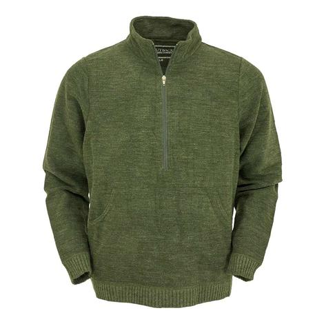 Outback Trading Co Mens Broderick Green Henley Pullover