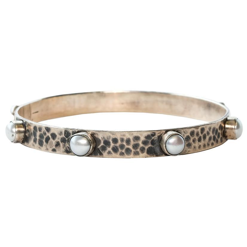 Silver Hammered Pearl Spiked Bangle Bracelet