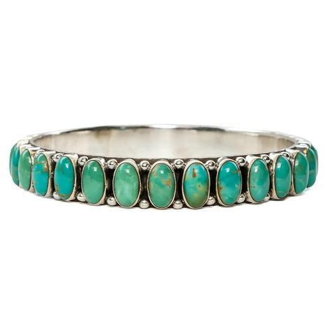 Silver Medium Oval Turquoise Stone Bangle Bracelet