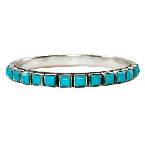 Silver Square Turquoise Stone Bangle Bracelet
