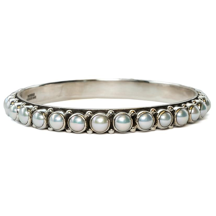 Silver All Around Pearl Stud Bangle Bracelet