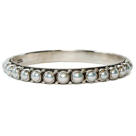 Silver All Around Pearl Stud Bangle Bracelet