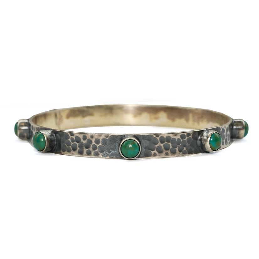 Silver Hammered Turquoise Spike Bangle Bracelet