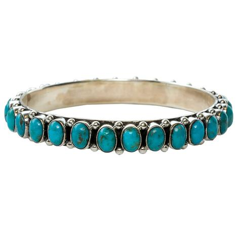 Silver Small Oval Turquoise Stone Bangle Bracelet