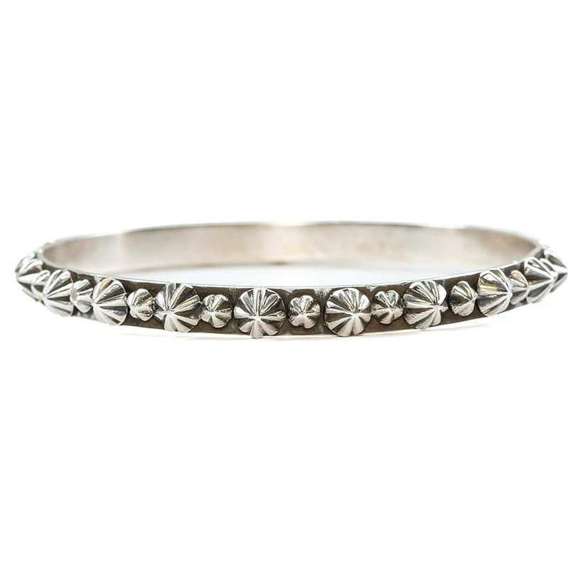 Silver All Around Starburst Spike Bangle Bracelet
