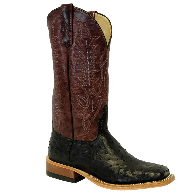 Anderson Bean Black Ostrich Full Quill Burgundy Men's Boots
