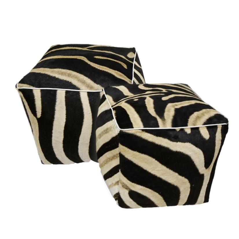 Zebra Cube Ottoman - Single
