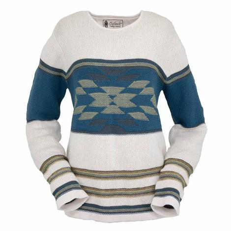 Outback Trading Co Womens Alta Aztec Cream Blue Sweater