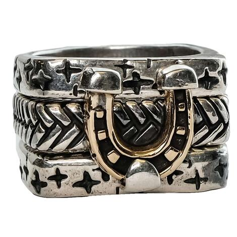 Silver Triple Stack Horse Shoe Ring