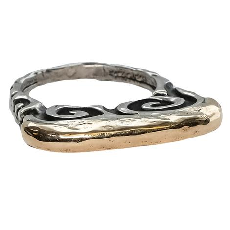 Silver Gold Swirl Ring