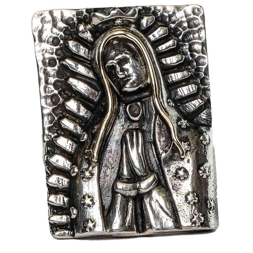 Gold And Silver Rectangular Virgin Mary Ring