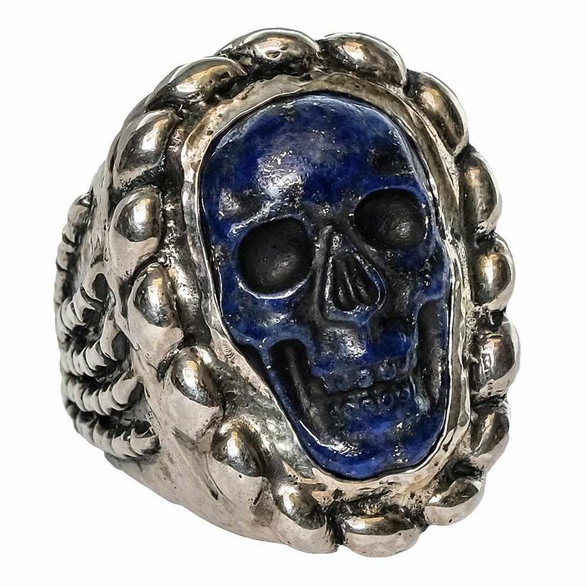 Silver Lapis Skull Ring