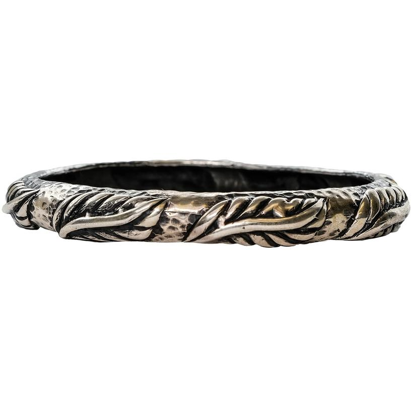 Silver Medium Leaves Bangle