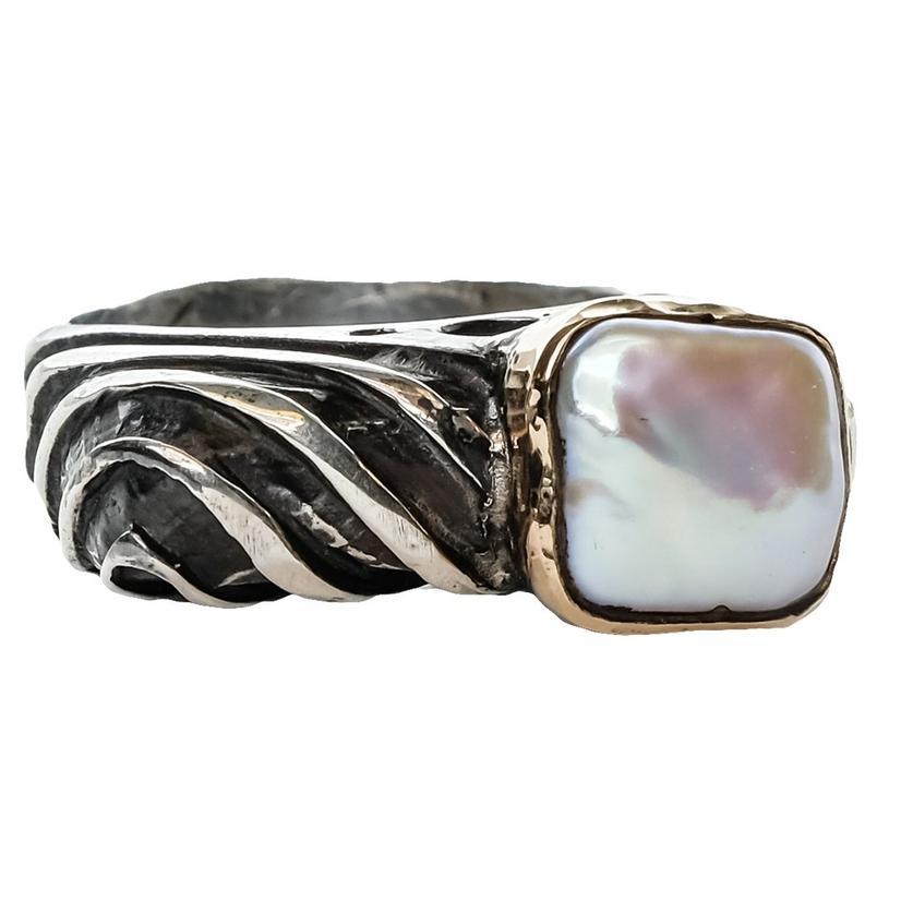 Silver Pearl Swirl Ring
