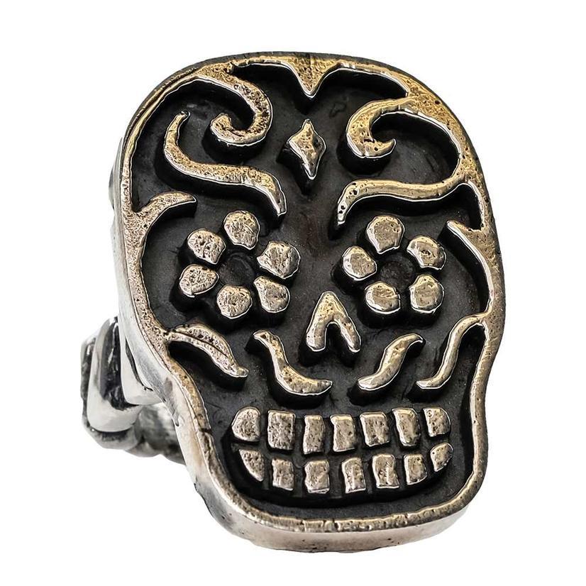 Silver Sugar Skull Ring
