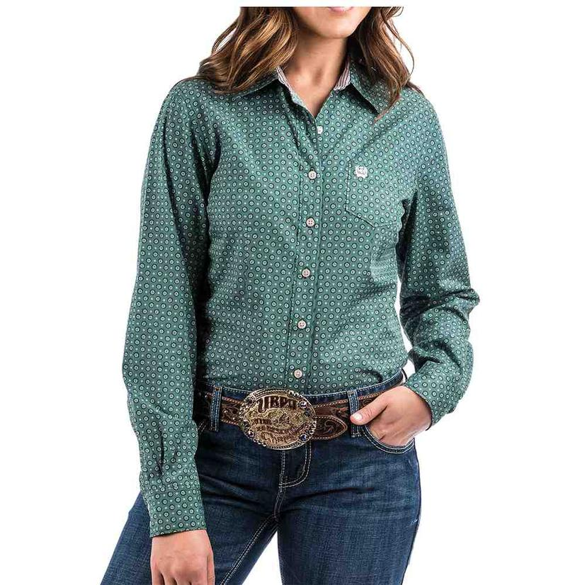 Cinch Green And White Pattern Long Sleeve Women's Button Down Shirt