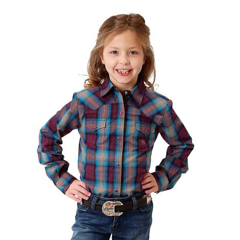 Roper Girls Maroon Blue Plaid Long Sleeve Shirt