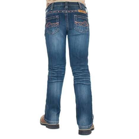 Cowgirl Girls Tuff Western Coral Jeans