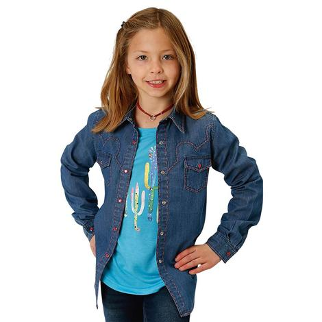 Roper Girls Denim Shirt with Pink Accents