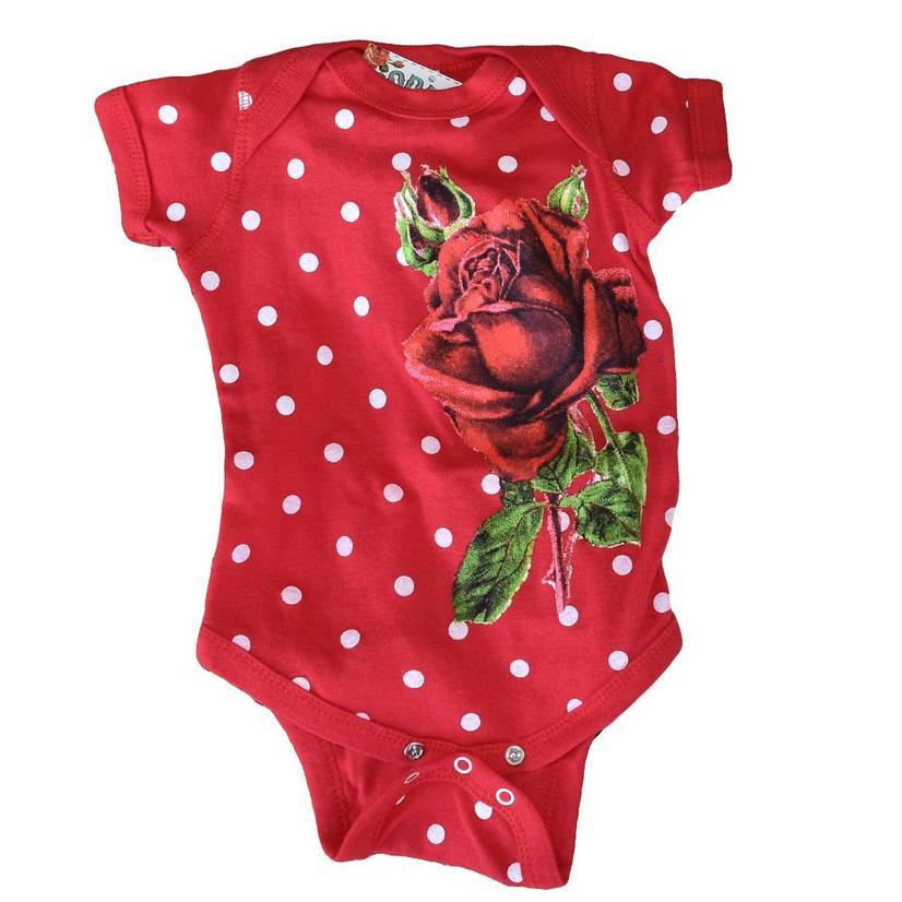 Rodeo Quincy Girls Red Rose Onesie