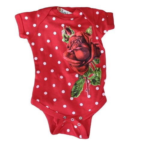 Rodeo Quincy Girls Red Rose Onesie