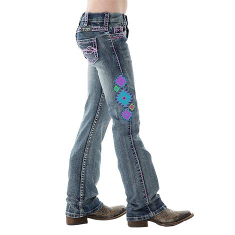 Cowgirl Tuff Girls Aztec Multi Color Jeans