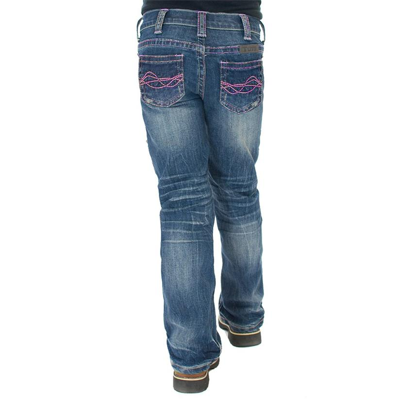 Cowgirl Tuff Girls Pink And Purple Brave Wings Jeans