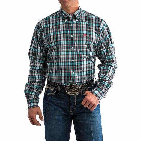 Cinch Men's Plaid Long Sleeve Button Down Shirt