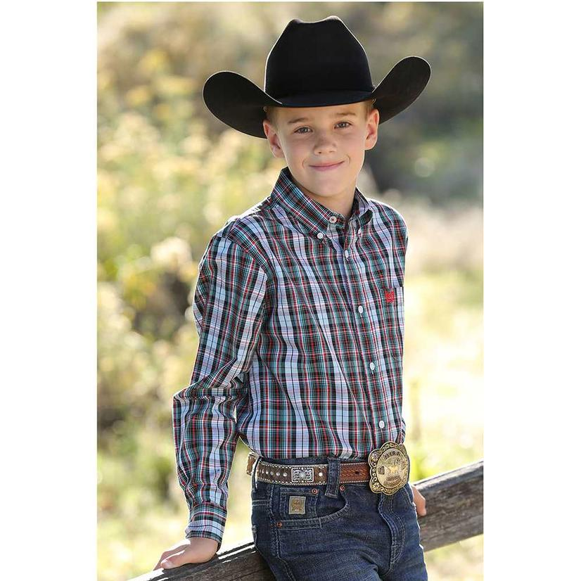 Cinch Teal Plaid Long Sleeve Button Down Boy's Shirt