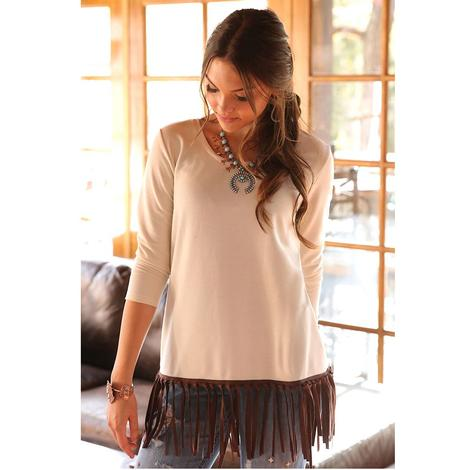 Cruel Girl Cream Three Quarter Sleeve Brown Fringe Women's Top