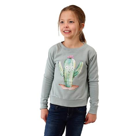 Roper Grey Terry Cotton Girl's Cactus Sweatshirt