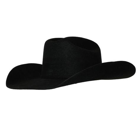 Ariat Black Wool Felt Hat with SELF Band and Buckle - Precreased