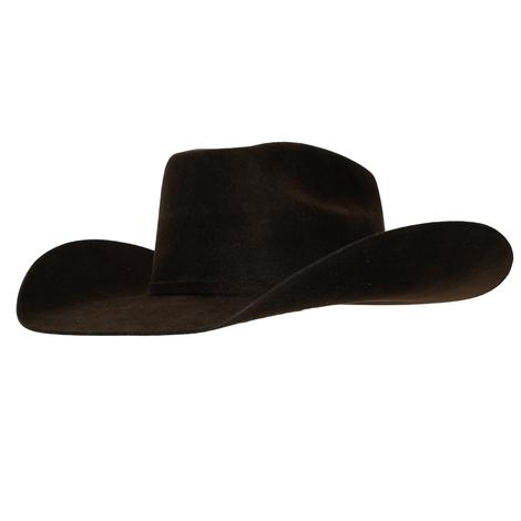 Ariat Chocolate Wool Felt Hat with SELF Band and Buckle - Precreased